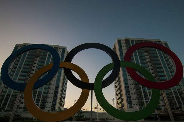 A general view of the Olympic and Paralympic Village for the 2016 Rio Olympic Games displaying the Olympic Rings in Barra da Tijuca. The Village will host up to 17,200 people amongst athletes and team officials during the Games and up to 6,000 during the Paralympic Games on July 22, 2016 in Rio de Janeiro, Brazil.