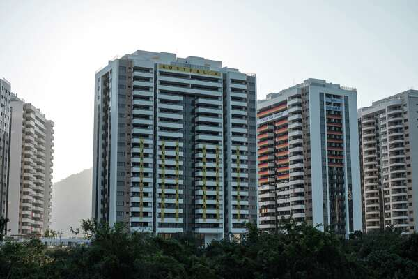 """View of the Australian team's apartments at the Olympic Village during its inauguration in Rio de Janeiro, Brazil, on July 24, 2016, ahead of the 2016 Rio Olympic Games. The Olympic Village in Rio officially opened its doors to the world's athletes on Sunday, less than two weeks before the Games begin -- but Australia, Britain and Brazil spurned the facility, which was dubbed """"not safe or ready."""""""