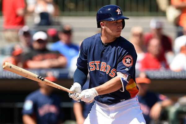 KISSIMMEE, FL - MARCH 15:  Alex Bregman #82 of the Houston Astros waits for a pitch during a spring training game against the Washington Nationals at Osceola County Stadium on March 15, 2016 in Kissimmee, Florida.  (Photo by Stacy Revere/Getty Images)