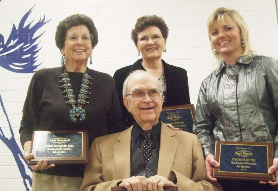 Jessica Thornton/Plainview HeraldAward recipients at the 2012 Olton Chamber of Commerce included: Citizen Through the Years, Lois Brimhall (left); Woman of the Year, Linda Roper; Teacher of the Year, Angi Martin; and Man of the Year, Harold Dean Carson (front).