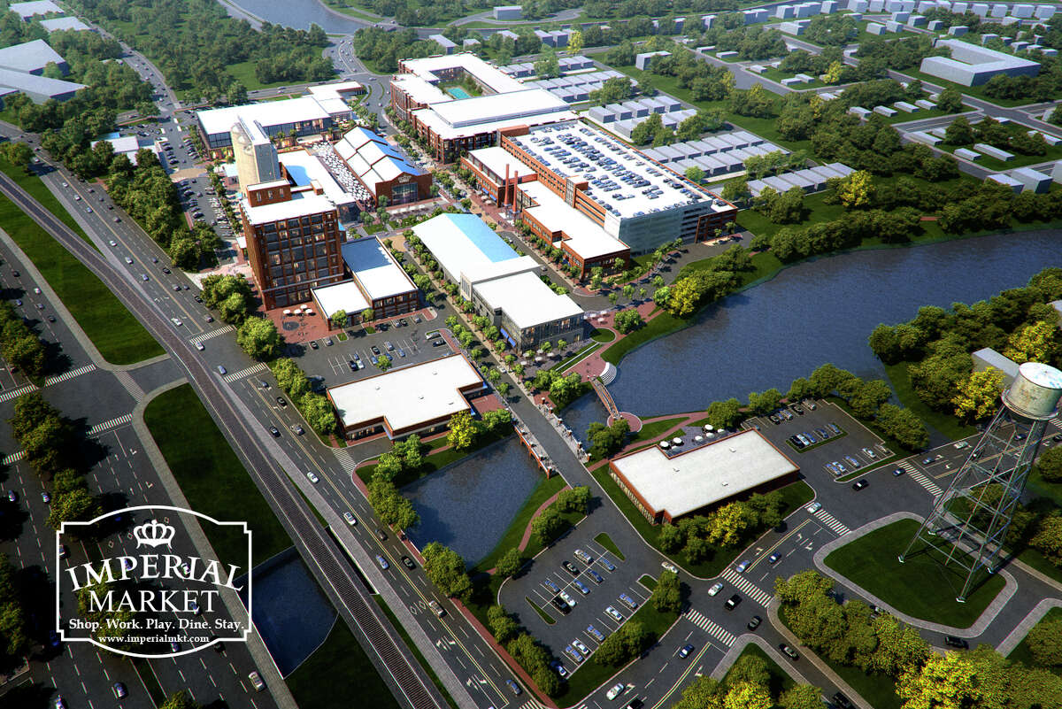 Aerial rendering of the Imperial Market development in Sugar Land. (courtesy of Transwestern)