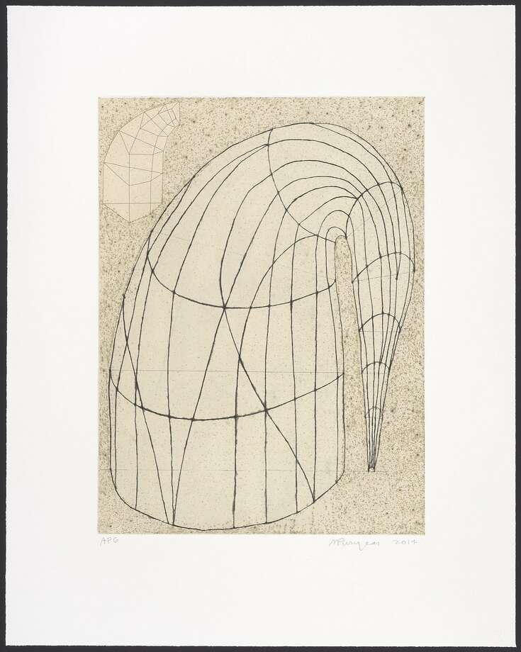 "Martin Puryear's ""Untitled (State II, 2014),"" color soft-ground etching and drypoint on chine-collé. Photo: Randy Dodson, Published By Paulson Bott Press. FAMSF, Gift Of Paulson Bott Press."
