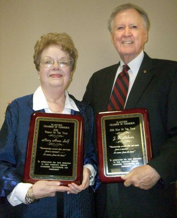 Mary Anna Self and J.B. Roberts were named Plainview's 2011 Woman and Man of the Year.