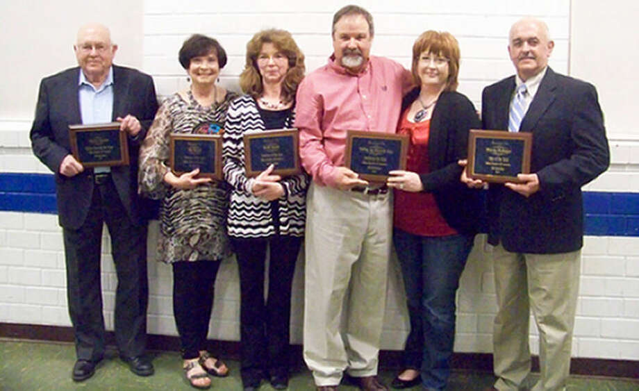 Olton Chamber of Commerce award recipients from Saturday night include James Cowart (left), Citizen Through the Years; Woman of the Year Pat Hukill; Teacher of the Year Kelli Smith; Business of the Year Valley Ag Electric, represented by Ricky and Deborah Smith; and Man of the Year Randy Redinger. Photo: Jessica Thornton/Plainview Herald