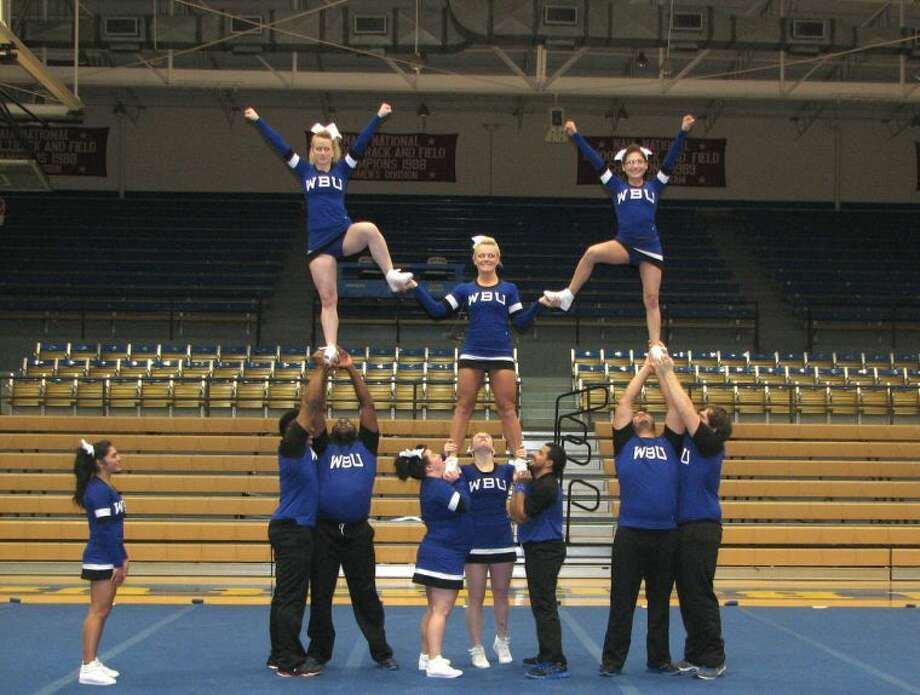 Members of the Wayland Baptist cheer team practice for the Christian Cheerleaders of America nationals competition to be held in Winston-Salem, N.C. later this week. Photo: Wayland Baptist University