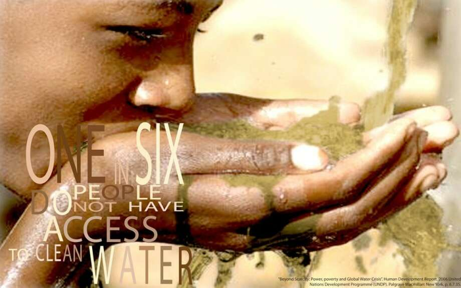 This poster depicting a child drinking dirty water was designed by Wayland senior Kate Trejos, a graphic design student from Bogota, Columbia, as part of her work in Trey Shirley's graphic design program. Each semester, Shirley assigns students a project that addresses an issue of social responsibility.