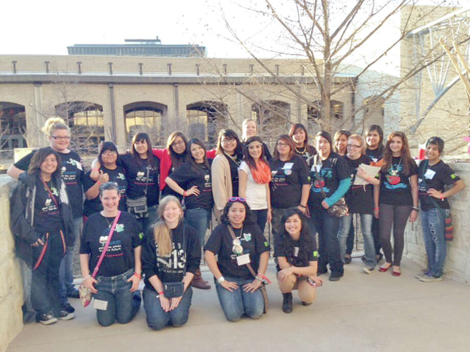 Plainview High TAFE members attending the recent state convention in San Antonio include Amy Summers (kneeling left), Dana Reader, Jasmine Marin, Monique Lucio, Rosie Gutierrez (standing left), Keeley Adkins, Samantha Godino, Christine Cano, Clarissa Garcia, Jahida Saucedo, Courtney Perez, Adriana Zermino, Abbygale Villa, Karla Fuentes, Shelbie Bowden, Madi McKay, Inez Zambrano, Melissa Waters (back left), Isabella Marin, Monique Gonzales and Maria Cervantes. Also attending were Clarissa Garcia and sponsors Cindy Belt and Marilyn Jennings.