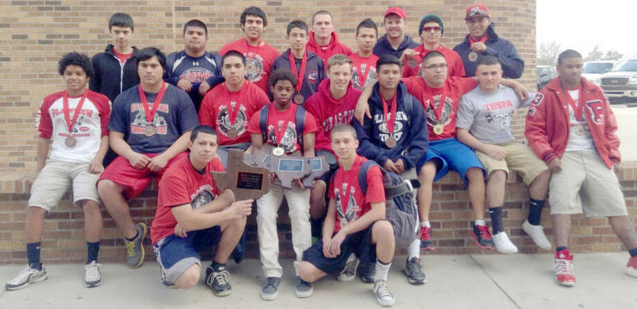 The PHS Bulldog powerlifters show off their hardware following Saturday's regional powerlifting meet in Midland. They include Eric Vega (kneeling left) with the second place team trophy, Anthony Washington, Zane Ponder (seated left), Moises Garcia, Rudy Vasquez, Shirmar Jennings (best squat in lighter weight divisions, best dead lift in lighter weight divisions, best overall lifter in lighter weight divisions), Carson Williams, Lincoln Zapata, Bailey Settle, Domingo Saucedo, Zack Ponder, Davin Luna (standing left), Christian Galvan, Erik Mendez, Derek Adame, Ethan Barnes, Carlos Raya, Brendan Voss, Zack Rosas and Aiden Lopez. Not shown are Frederico Castro and Luis Castro.