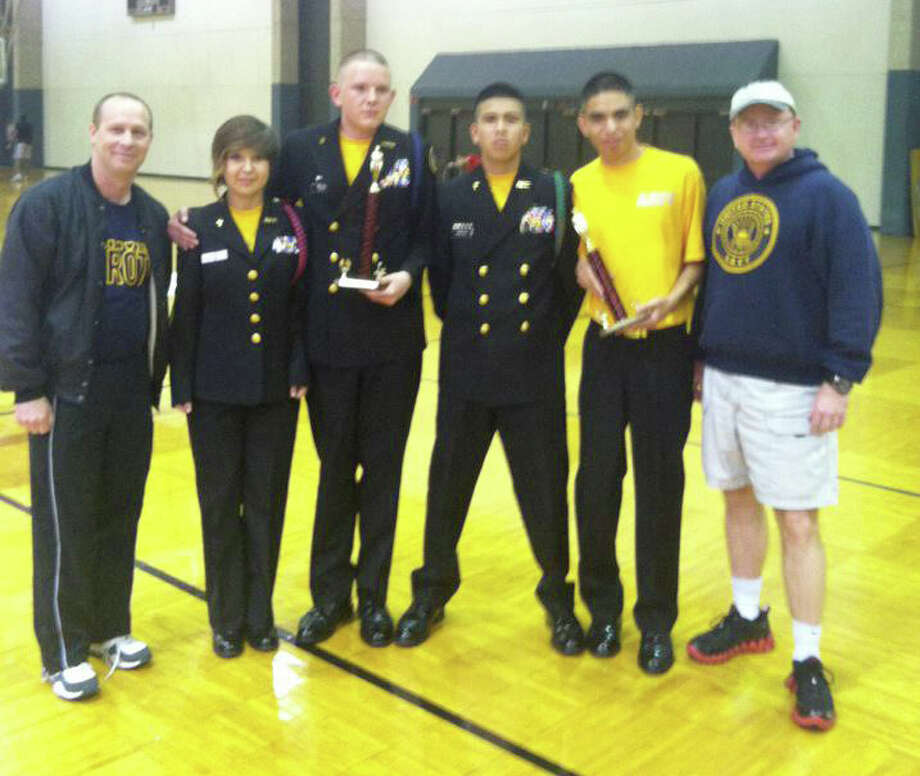 Courtesy PhotoThe Plainview High School NJROTC unit brought home 11 trophies Saturday in competition at Texas Tech University against groups from nine other schools. The trophies included five for first place, five for second and one for third place. One of the first-place trophies went to the color guard unit, consisting of Petty Officer Eric Mears (left), Jordan Matsu, David Bolding, Fernando Gonzales, Adrian Flores and Chief Brad Brantley.