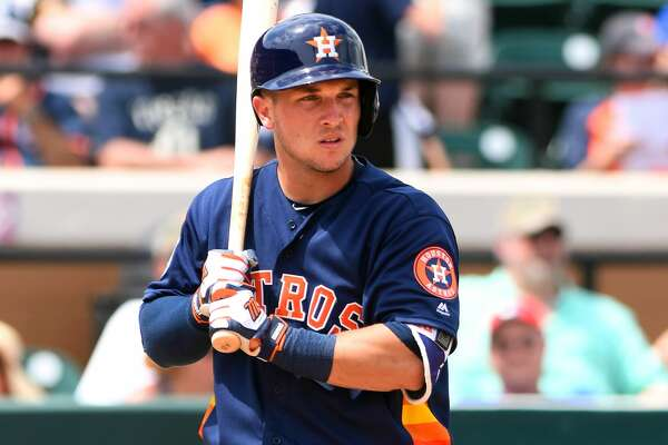LAKELAND, FL - MARCH 27:  Alex Bregman #82 of the Houston Astros looks on while batting during the Spring Training game against the Detroit Tigers at Joker Marchant Stadium on March 27, 2016 in Lakeland, Florida. The Astros defeated the Tigers 8-3.  (Photo by Mark Cunningham/MLB Photos via Getty Images)