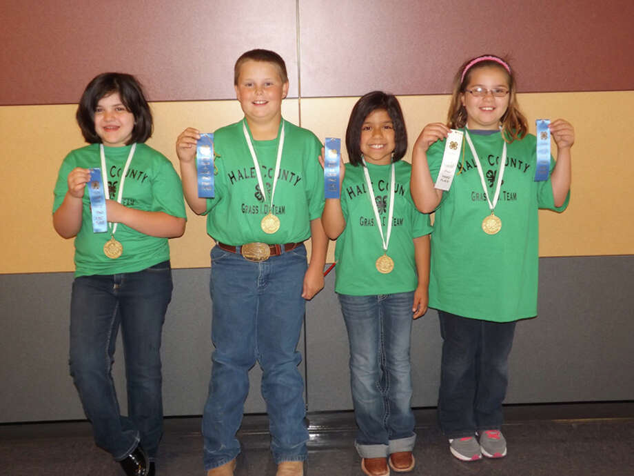 The Hale County Junior 4-H Grass Identification Team won first place at the District 2 4-H Roundup in Levelland. Team members include Shirin Harleston (left), Blaise White, Kristin Ortiz and Nevaeh Gonzalez, third high point individual.