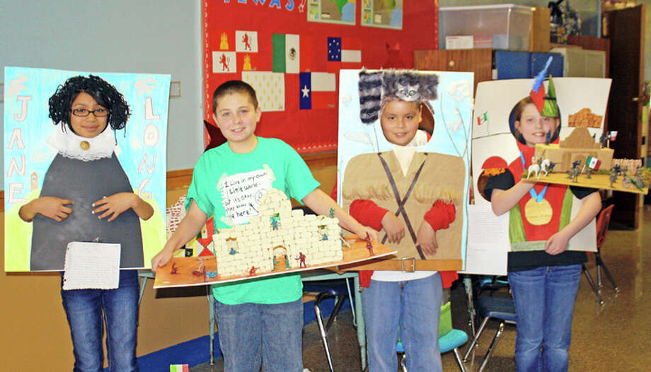 Jan Seago/Plainview ISDHighland fourth-grade students wrote reports and created Texas historical character posters, salt maps and replicas of the Alamo that will be on display at Highland during Texas Public Schools Week March 5-9. Shown are Alexis Flores (left) with her poster of Jane Long, Kyryn Jones with his Alamo replica, Anthony Gonzales as Davy Crockett and Kailer Lowin as Santa Anna. Fourth-grade teachers are Vicki Webb, Charlotte Sjogren, Jennifer Stephenson and Kristin Nichols.