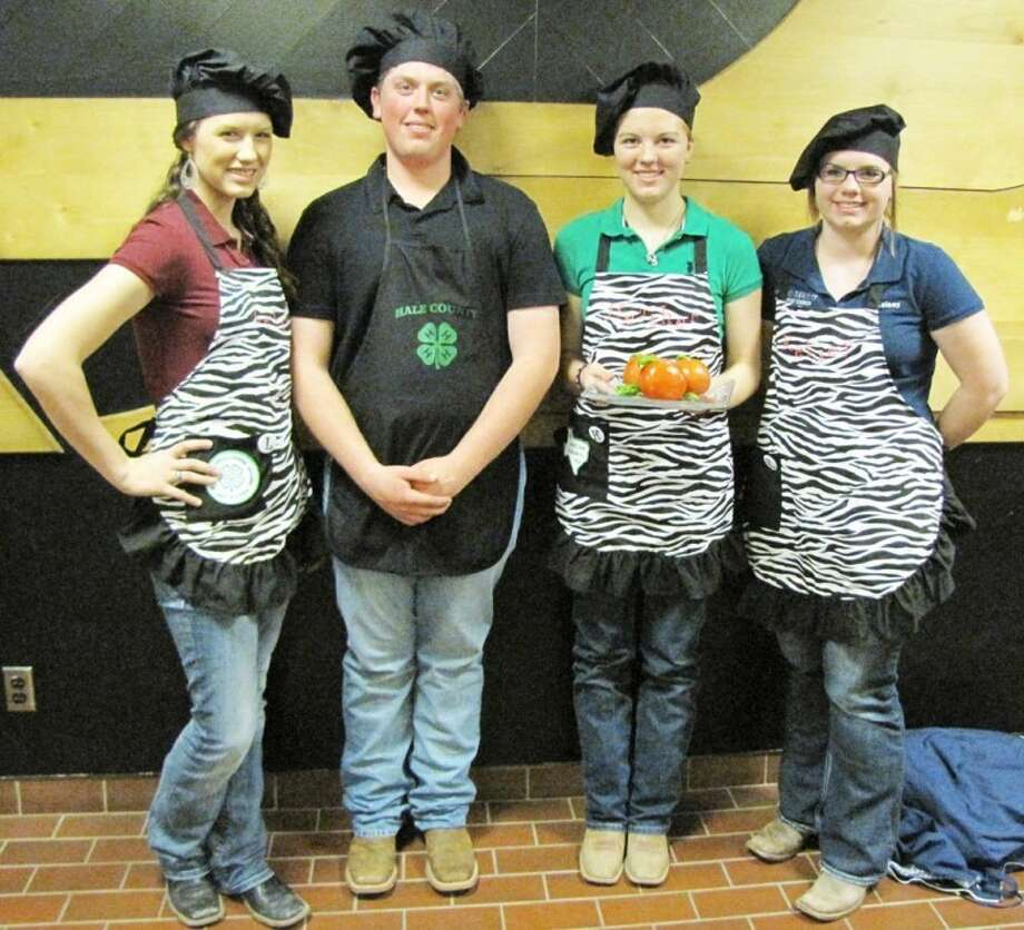 Courtesy PhotoHale County 4-H's Senior Food Challenge Team, composed of Letti Cheyne, Layton Schur, Heather Bozeman and Kelsey Mires, took first place in the nutritious snacks portion of the District 2 4-H Food Challenge Feb. 27 at Texas Tech. The team now advances to the State 4-H Round-up in June in Lubbock.