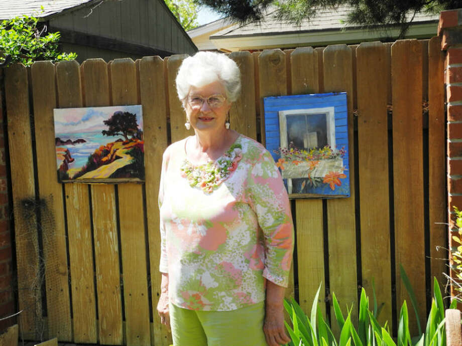 Carolyn Warrick's backyard forms a natural setting for her paintings. Photo: Gail M. Williams | Plainview Herald