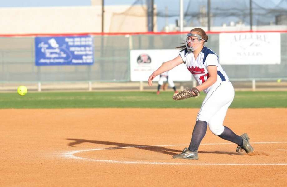 Plainview sophomore pitcher Monica Perez lets one go in Monday's District 3-4A opener against Canyon at Lady Bulldog Park. Plainview won 15-8. Photo: Kevin Lewis/Plainview Herald