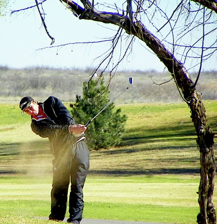 Plainview High golfer Matt Jolly takes a swing at last weekend's tournament in Andrews.