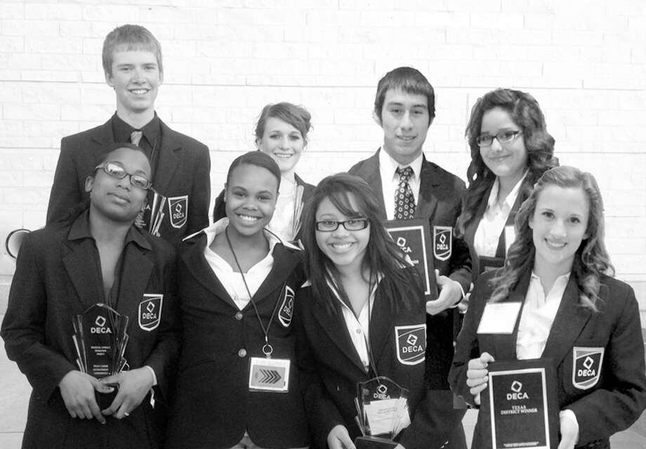 Courtesy PhotoAfter competing in the State Career Development Conference in Corpus Christi last weekend, PHS DECA students T'keyah Roberts (front, left), Mariah Willis, Sierra Dubrule, Haley Raymond, Ryan Bowen (back, left) Ashlee Taylor, Neptaly Trujillo and Dalia Acosta will advance to the International Career and Development Conference in Salt Lake City on April 27.