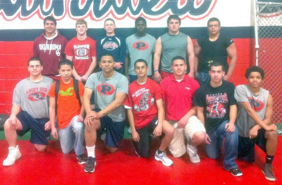 Plainview powerlifters competing at the regional meet on Saturday in Abilene will be (back row, from left) Adrian Gonzales, Andrew Dunlap, Noah DiSalvo, Michael Sansom, Santiago Fabela, Angelo Samarripa; (front) Federico Castro, Carlos Raya, Angel Ornelas, Ivan Antuna, Pablo Jimenez, Dimas Rodriguez and Zane Ponder. Not Pictured is Domingo Saucedo. Photo: Courtesy Photo
