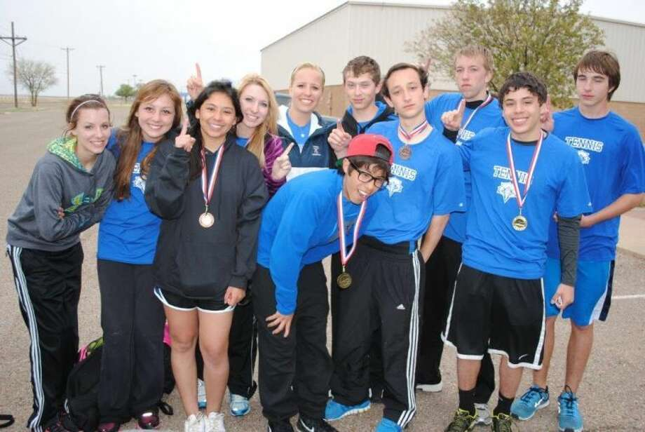 Eleven out of the twelve members of the Plainview Christian tennis team advanced to the TAPPS state tournament after competing in the district championship in Wichita Falls. Pictured from left are netters; Shalin Lawson, Savannah Guzman, Meredith Mulliken, Alex Mulliken, David Landtroop, Luke Ortiz, Kelby Brice, Justin Roberts, Christian Cruz and Ben Shaw. Not picture are Madison Ortega and Brittany Bradley. Photo: Courtesy Photo