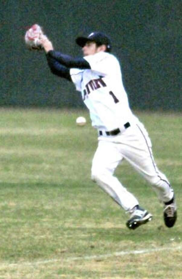 Plainview outfielder Gus Licerio just misses hauling in a fly ball during a recent game at Bulldog Park, where the Dogs (4-12, 0-1 district) host Canyon at 5 p.m. Friday.