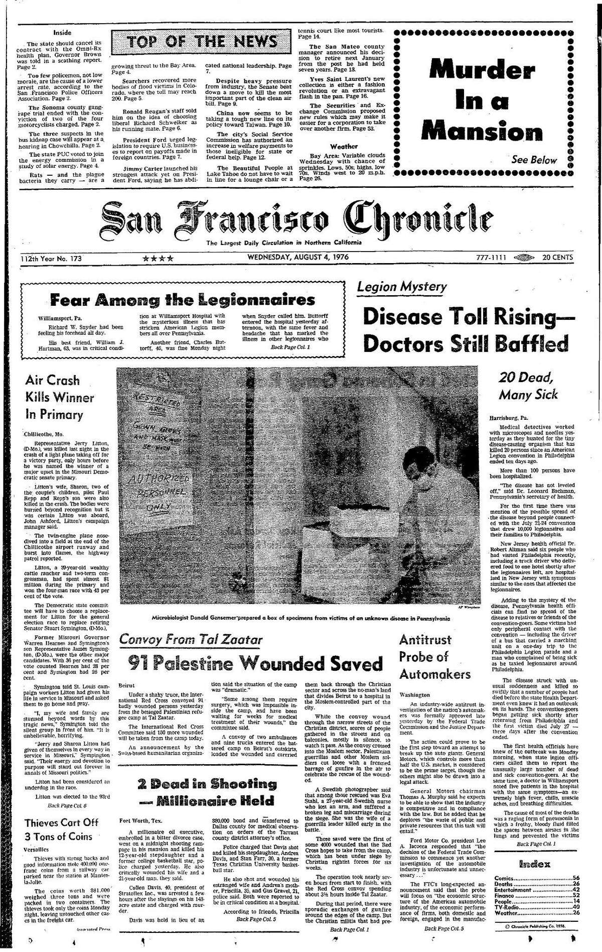 Historic Chronicle Front Page August 04, 1976 Legionaires Disease outbreak in Pennsylvania hotel Chron365, Chroncover