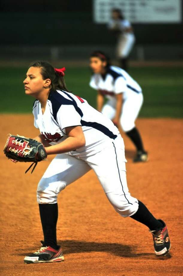 First baseman Chyane Hernandez gets set for the next pitch, as do second baseman Bethany Chavez and center fielder Kelsee Mora, during Tuesday's game at Lady Bulldog Park against Hereford. Plainview, which at 13-5 has the most teams of any team in District 3-5A, plays a pair of 1 p.m. games in Amarillo this weekend, meeting Caprock on today and Palo Duro on Saturday. The Bulldog baseball team makes its district home debut at 5 p.m. today against Canyon.