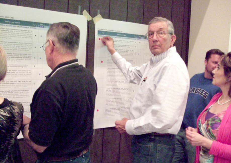 Mayor Wendell Dunlap is among those participating in an exercise to determine what parts of a long-term plan are top priorities. Photo: Shanna Sissom/Plainview Herald