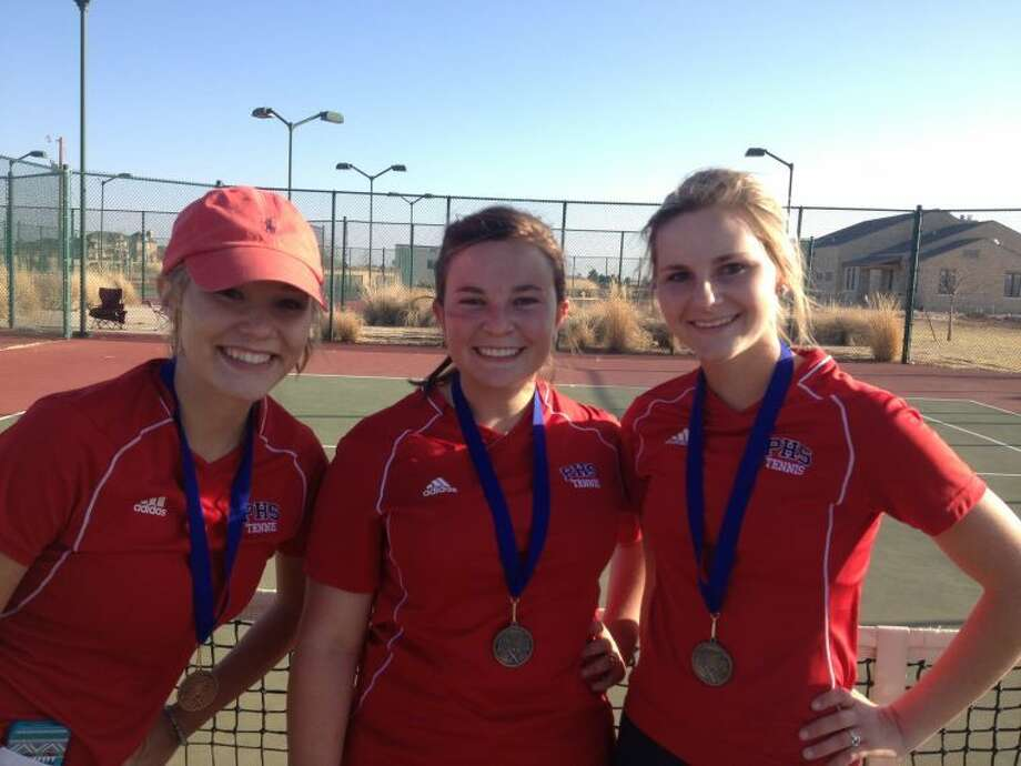 After showing true grit in Frenship, Dusti Boedeker, M'Kinna Decker and Elizabeth Earhart earn top medals at the Tiger Tennis Meet on Friday. Photo: Courtesy Photo