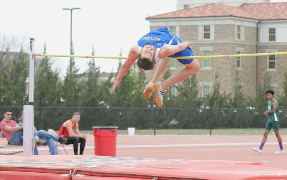 Wayland Baptist high jumper Conner Carpenter gets air at the Texas Tech open. Photo:  Summer Morgan/Wayland Baptist University