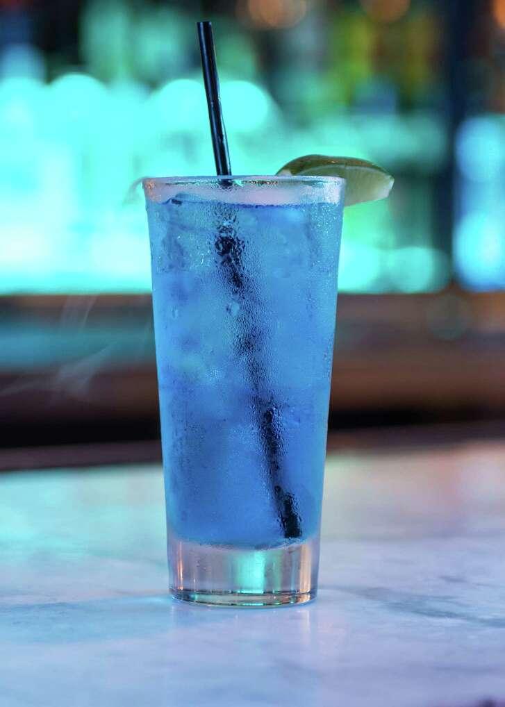 The Bleu Mojito, a cocktail at the new Bar Bleu lounge at 2506 Robinhood near Rice Village.