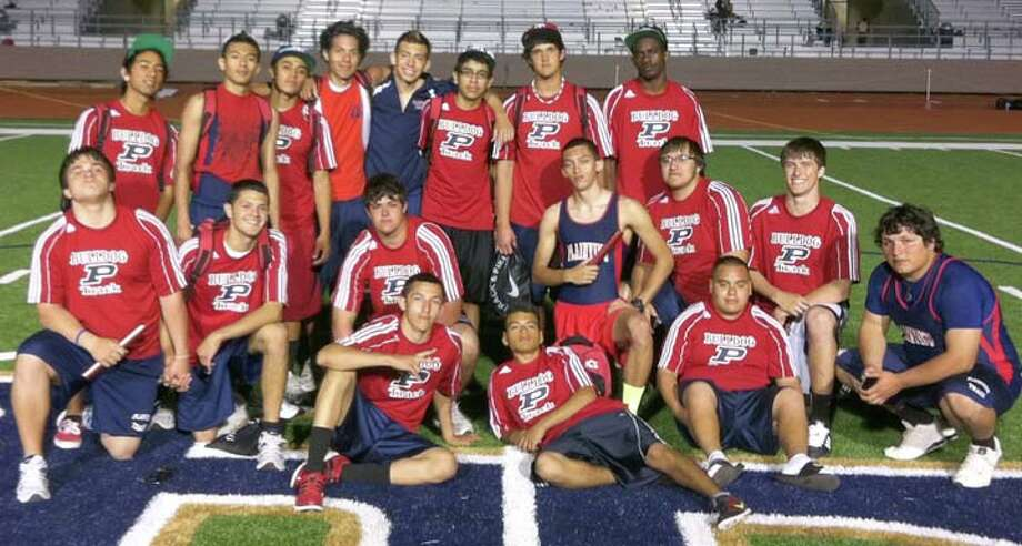 The Plainview Bulldog track and field team after winning the Little Elm Lobo Club Invitational on Saturday: (seated, from left) Jarel Rosas, Eli Corona, Jeremy Zavala; (middle) Santiago Fabella, Stratton Mowry, Trent Walker, Jordan Maters, Guillermo Leal, Tyler Glenn, Greg Marroquin; (top) Jacobsin Enriquez, Juan Varela, Chris Salazar, Paul Lara, Avery Nunez, Jordan Castillo, Kade Young and Kendrick Fennell. Photo: Courtesy Photo