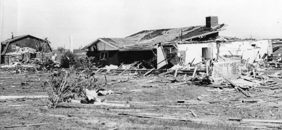 More than 40 homes and a few commercial structures were destroyed in Plainview by the 1973 tornado, including these houses in Westridge. Photo: The Herald