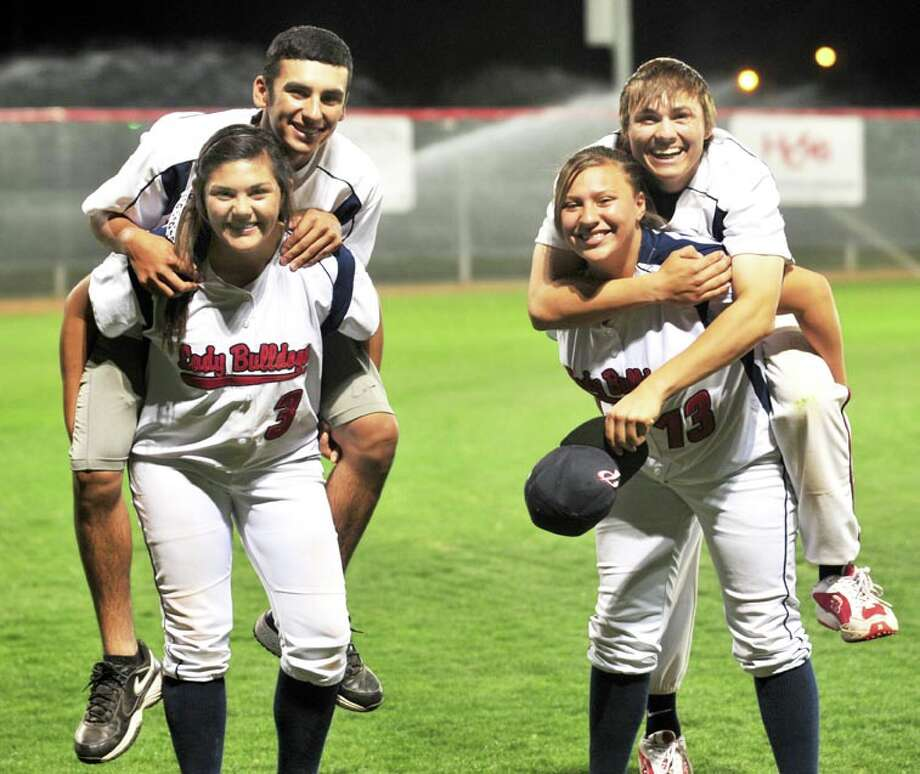 Siblings Jackie and J.J. Perez (left) and Chyane and Trey Hernandez keep each other on their toes with a healthy dose of sibling rivalry. Eleven members of the PHS baseball and softball teams are related, making home games feel a bit like a family reunion. Photo: Summer Morgan/Plainview Herald