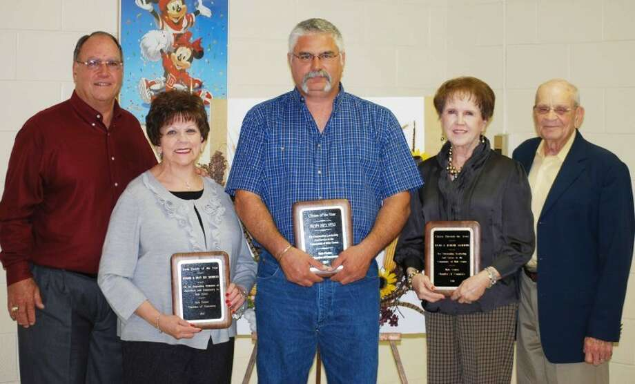 Phil Hamilton/Hale Center AmericanHale Center Chamber of Commerce recognized its 2011 Farm Family of the Year, Ronnie (left) and Billye Sue Sherrod; Citizen of the Year, Ron Belyeu; and Citizens Through the Years, Don and JoLynn Maddin, Saturday at Akin Elementary.
