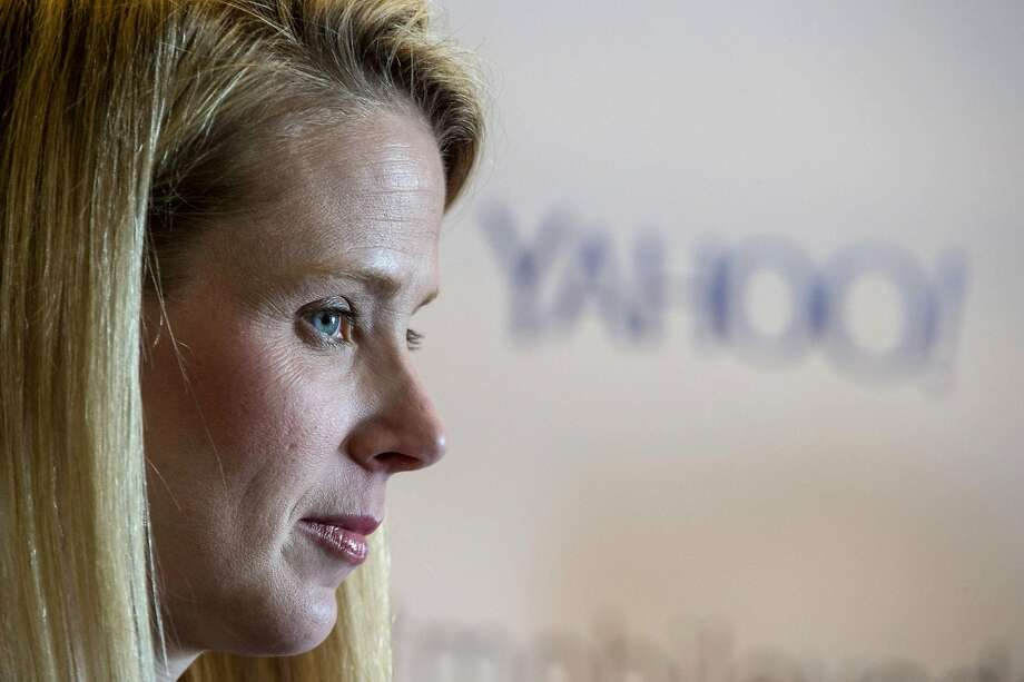 Marissa Mayer, president and chief executive officer at Yahoo Inc., listens to a reporters question during a press conference at the Yahoo Inc. Mobile Developer Conference in San Francisco on Thursday, Feb. 19, 2015. Photo: David Paul Morris, Bloomberg