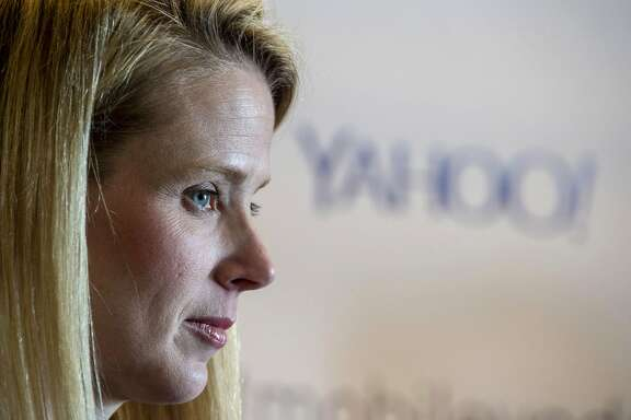 Marissa Mayer, president and chief executive officer at Yahoo Inc., listens to a reporters question during a press conference at the Yahoo Inc. Mobile Developer Conference in San Francisco on Thursday, Feb. 19, 2015. MUST CREDIT: Bloomberg photo by David Paul Morris.