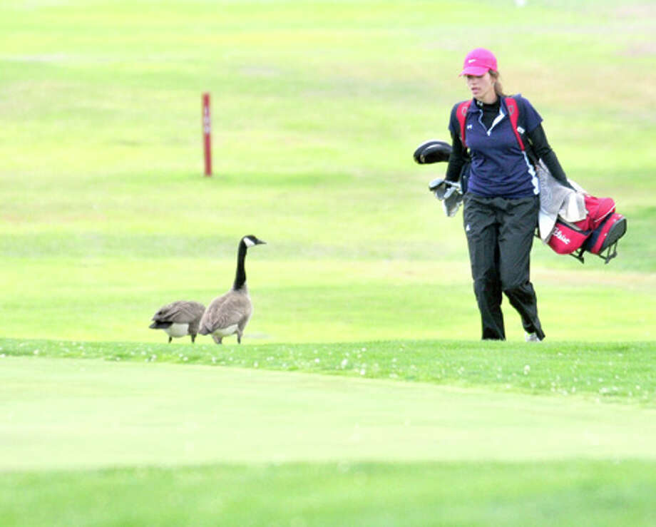 A couple of geese greet Plainview's Elizabeth Andersen as she approaches a green at the Palo Duro Creek Golf Course in Canyon on Tuesday. Photo: Summer Morgan/Plainview Herald