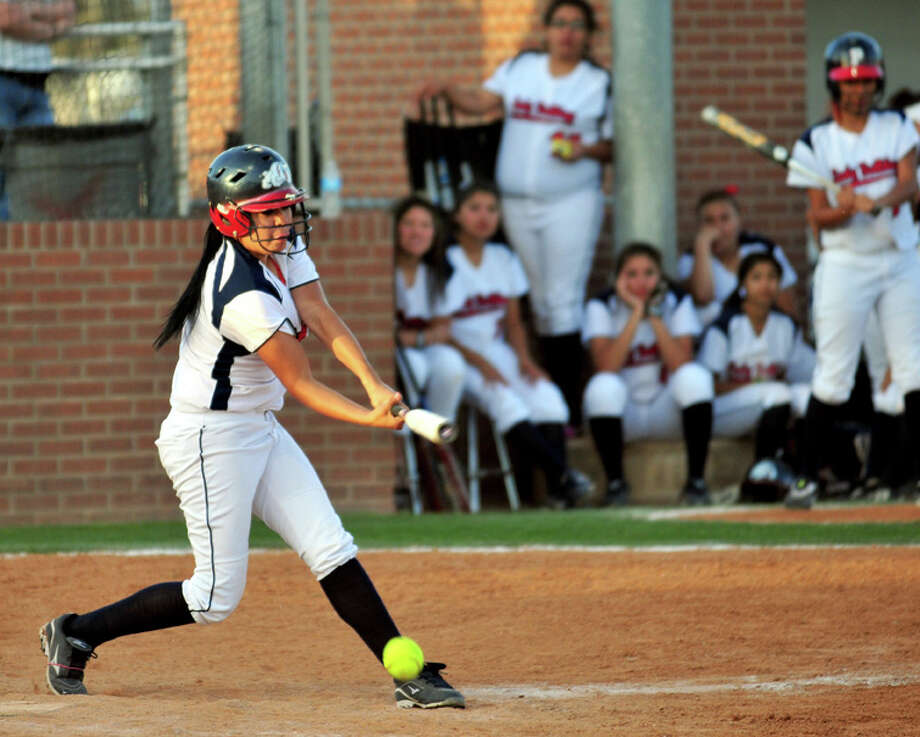 Junior Mara Rodriguez came in as a substitute in the third inning of the Lady Bulldogs' 22-1 rout against Palo Duro. She had one at-bat, two runs and one RBI on the night. Photo: Summer Morgan/Plainview Herald