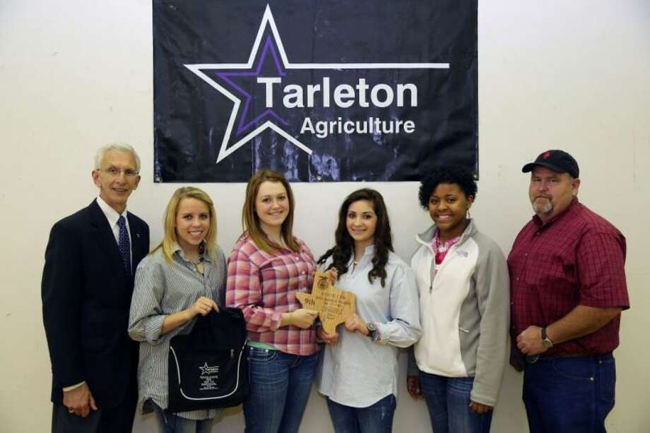 The Plainview FFA Dairy Foods Team placed ninth at the State FFA Judging Contest hosted by Tarleton State University. Tarleton State University President Dr. Dominic Dottavio (left) congratulates Plainview FFA members Jordin Barton, Emily Williams, Madi McKay, Mya Davis and Ag Science Teacher Rick McKay. Barton also was recognized as seventh place high individual in the dairy foods competition. The top 20 individuals in each contest are recognized. Photo: Courtesy Photo