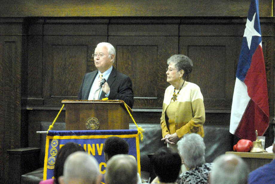Author Fred Sikes introduces Evelyn Trice on Wednesday during the Plainview Lions Club meeting. Sikes recently completed a book on Trice's first husband, local boxer LaVern Roach who died in 1950 of injuries suffered in a nationally televised fight in New York City. At the time of his death he was considered a contender for a world title. Photo: Homer Marquez/Plainview Herald