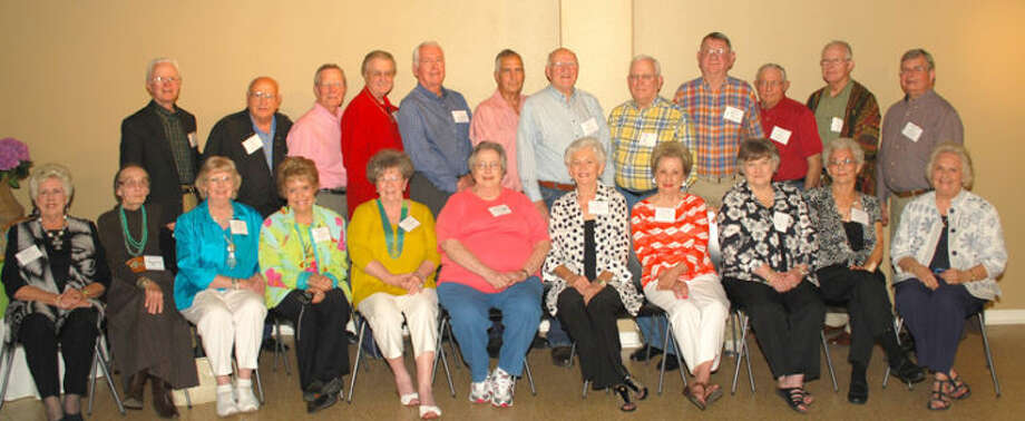 The Plainview High School Class of 1953 held its 60th anniversary reunion April 19-21 in Kerrville. Attending were Donell Phillips Teaff (seated left), Waco; Yolanda Ellis Job, Plainview; Betty Joe Bumpus Herring, Tulsa, Okla.; Beth Dobson Jameson, Houston; Reita Martin Brown, Lubbock; Emma Lou Howard Hight, Lago Vista; Dixie McWilliams Williams, Kerrville; Carolyn Huggins Hollis, Houston; Iva Jean Shrum West, Plainview; Shirley Rackley Hay, San Antonio; Patsy Harris Middleton, Austin; John Marse, Plainview; Jim Atkins, Dallas; Larry Temple, Austin; Clyde Lee Herring, Tulsa, Okla.; Bob Castleberry, Plainview; Dale McMurry, Midland; Bill Bristol, Colorado Springs; Steve Keller, Dallas; Rex Redies, Plainview; Joe Leach, Plainview; Richard Morgan, Plainview; Jerry Bratcher, Kerrville; and Rebekah Swanner Noel (not shown), San Antonio. The YO Ranch Hotel at Kerrville served as headquarters for the reunion, with Dixie Williams and Jerry and Sue Bratcher being recognized for their planning and work on putting together the gathering. Clyde Herring presented each class member with a 2013 golden $1 presidential coin to commemorate the occasion. The group's next scheduled gathering is at the 2015 all-school reunion in Plainview. Photo: Courtesy Photo