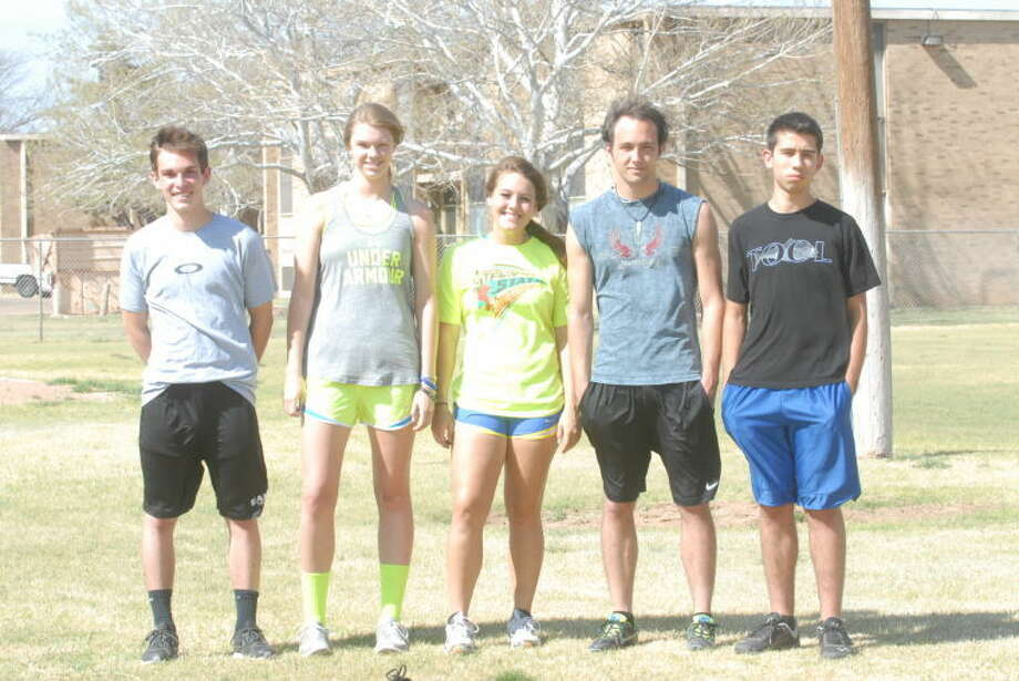 Seven Plainview Christian Eagles will advance to the state championship May 10 in Waco after qualifing last week in the district/regional meet in Abilene. Pictured above are tracksters Alex Siesmore, Claudia Lusk, Madison Ortega, Tyler Covington and Edgar Martinez. Not pictured are Karley Thrasher and Tanner Morton. Photo: Skip Leon/Plainview Herald