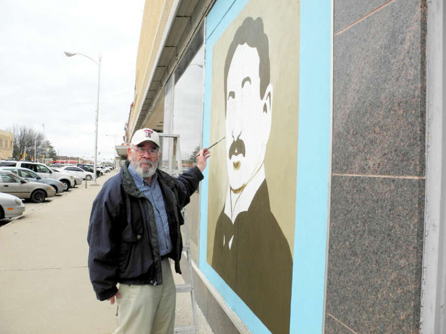 Artist Joe Garnett spent Thursday morning working on a painting of King Gillette, inventor of disposable razor blades and the first popular safety razor. The painting at the old Gebo's/Marse & Son building, 623 Broadway, will be part of a demonstration by Garnett during Artwalk on Broadway from 5-8 p.m. today. According to Garnett, the painting will eventually be part of the interior of Studio 623, owned by Justin and Heather May. The Mays sell handmade soaps, and plan to convert the large building into a retail outlet, art gallery and small black box theater with loft apartments above. Garnett said Justin May, who has some facial hair, chose the subject as a joke. Photo: Gail M. Williams/Plainview Herald