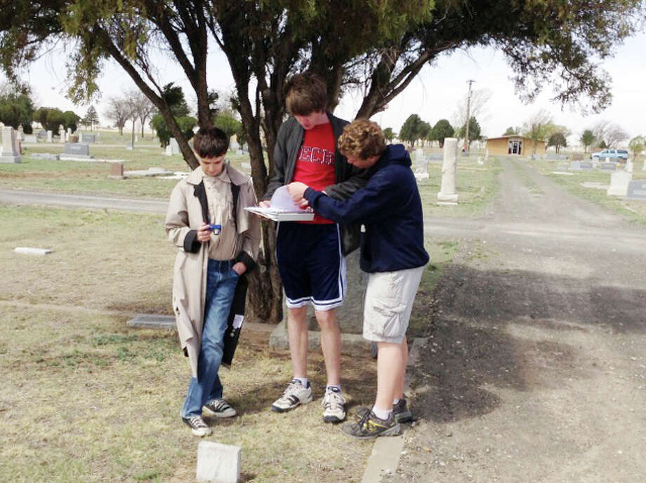 Jeremy Bowen (right) initiated and supervised the cemetery project as part of his Eagle Scout service project. Here he is seen with friends and fellow Scouts Evan Puckett and Parker Adamson. Photo: Lynette Bowen | Courtesy Photo