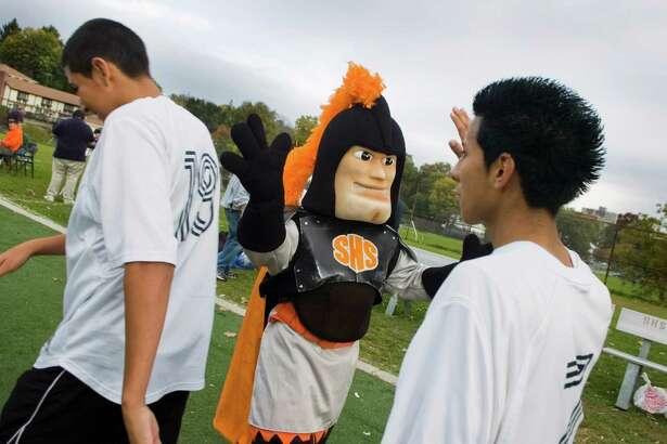 Stamford High's Black Knight mascot.