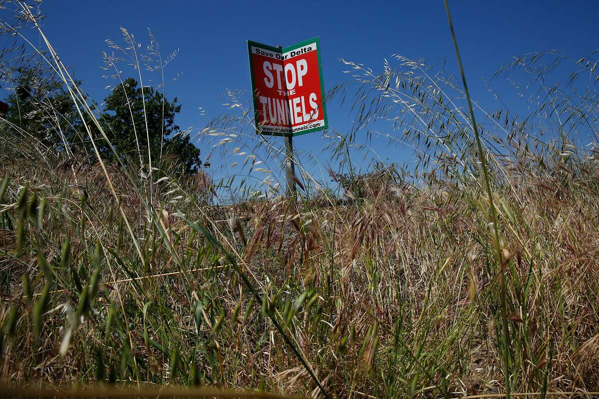 A sign protesting Governor Brown's proposed twin tunnels that will divert water from the Sacramento River southward sways in the wind along River Road on the Sacramento River April 14, 2015 in Walnut Grove, Calif.