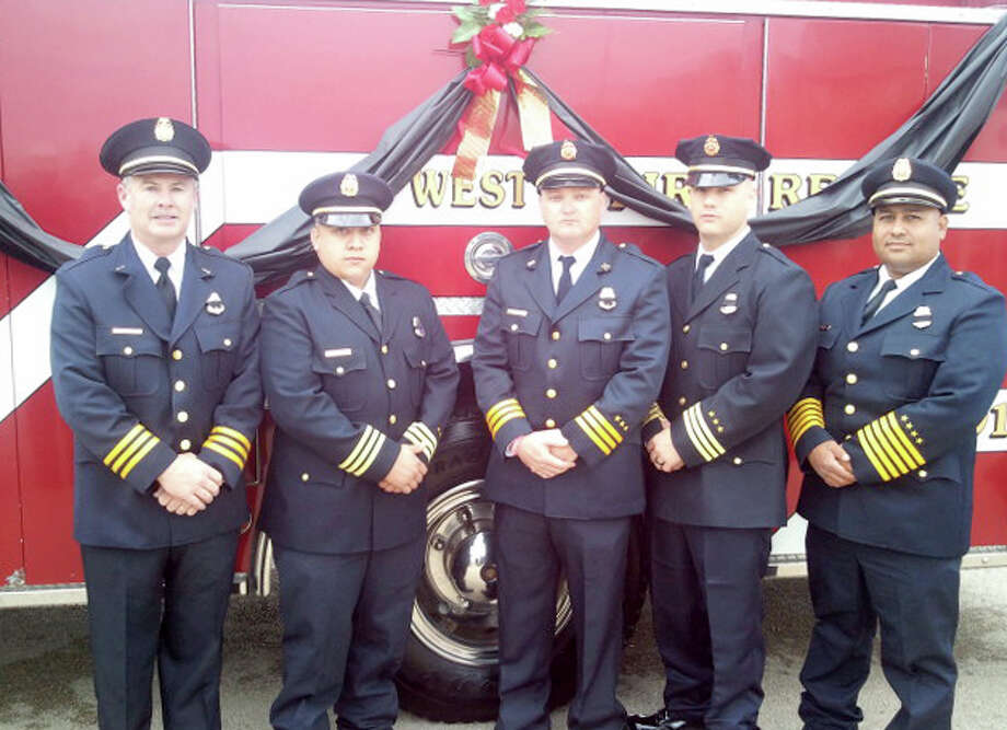 Courtesy PhotoThe Plainview Fire Department Honor Guard, which consist of Lt. David Sells (left), Harrison Hart, Capt. Matt Blackburn, Scott Stapp and Tommy Marquez, was among those participating in the procession Thursday before the memorial services for the nine first responders killed at the explosion of the fertilizer plant in West.
