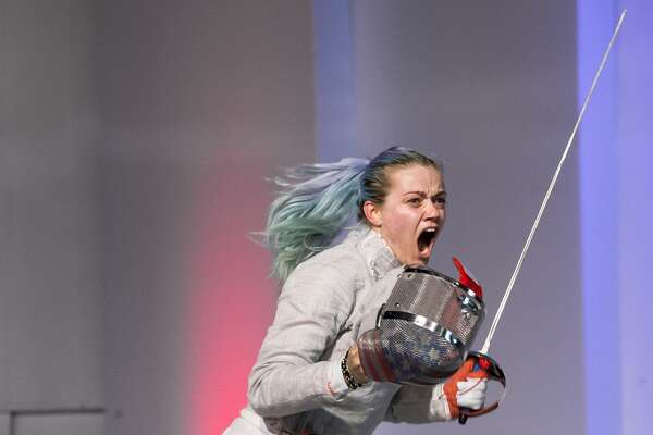 Dagmara Wozniak of the USA celebrates making the winning touch against Paola Pliego of Mexico in the Team Women's Sabre gold medal match. Team USA won the match 45-38 at the Pan-American Fencing Championships on June 25, 2016 at the Convention Center Vasco Nunez de Balboa in Panama City, Panama.