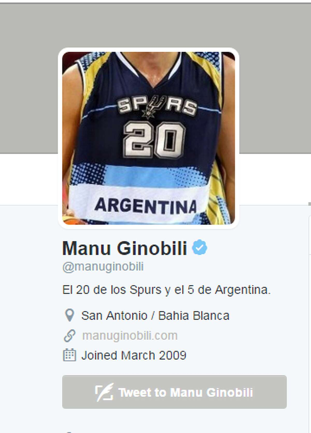 Manu Ginobili, Argentina Basketball Known for his storied career with the San Antonio Spurs in the NBA, Ginobili will be going to his third Olympic games with the Argentine national team. Most of Ginobili's tweets are in Spanish, and so is his blog. The basketball star came back from a three-month hiatus in June and looks to be tweeting more than ever.