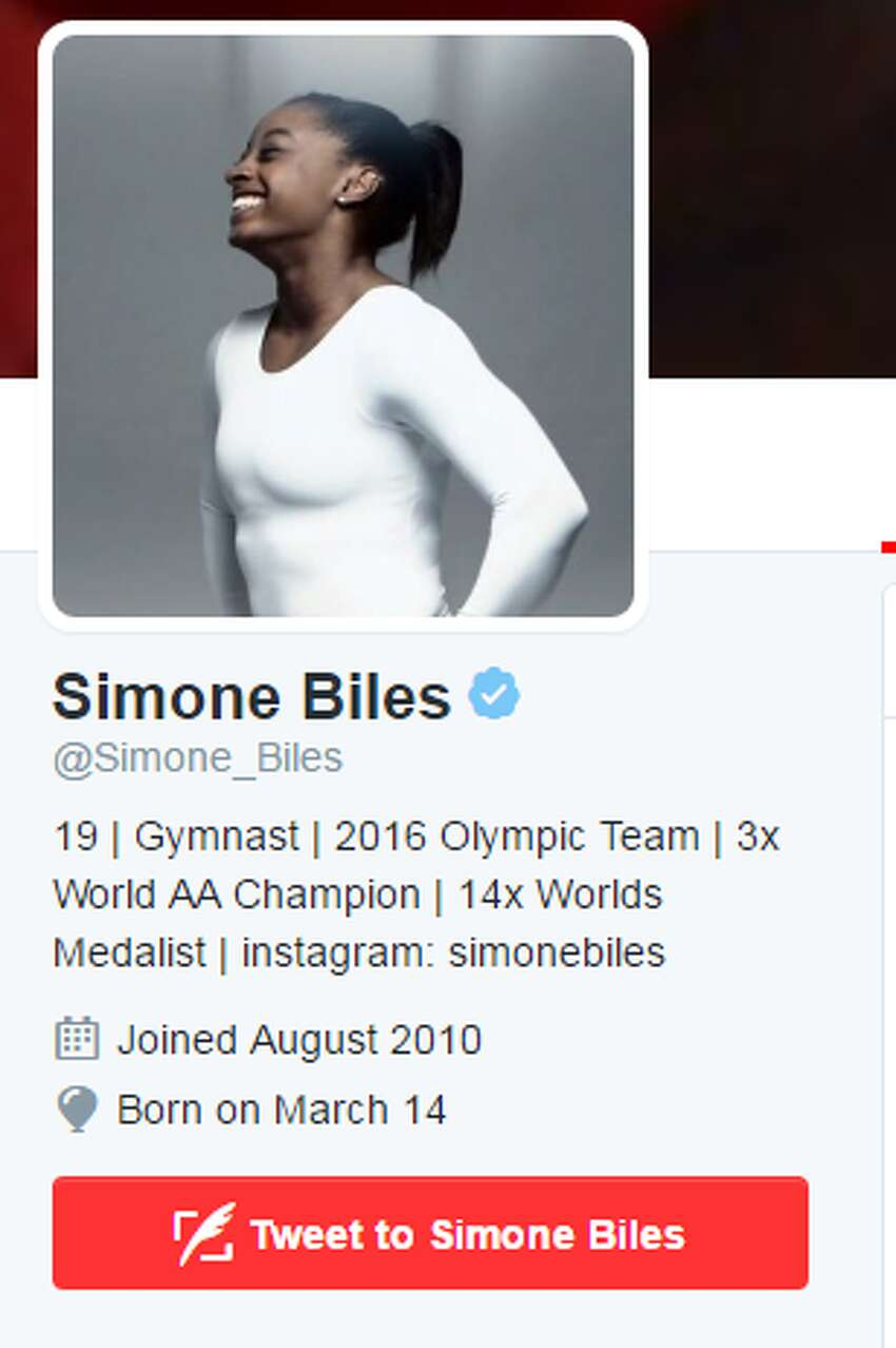 Simone Biles,USA Gymnastics Standing at only 4-foot-8, the 19-year-old gymnast is dominating the gymnastics circuit and just recently won her fourth consecutive U.S. all-around title over U.S. teammate Aly Raisman, a double gold medalist at the 2012 Games. While an elite athlete, Biles still knows how to have fun on social media, posting pictures of her and her friends going to concerts and late night frozen yogurt runs.